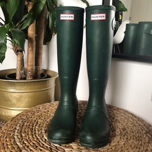 Dark Green Tall Hunter Wellie Rain Boots
